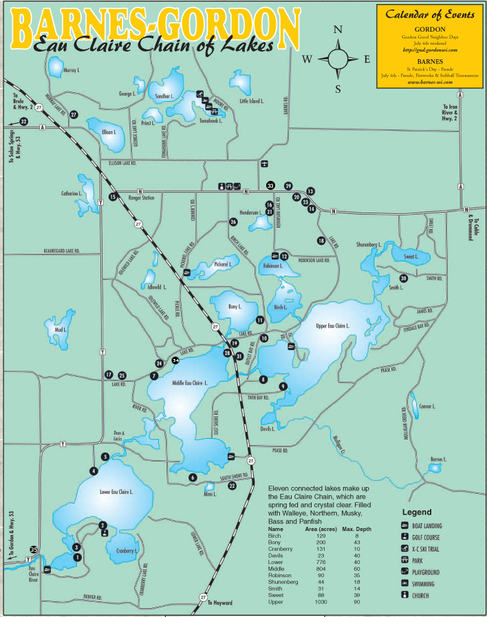 Wisconsin resorts Eau Claire Lakes Resorts Businesses Map